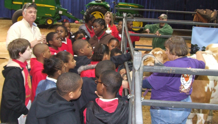 children with cow at Ag Expo