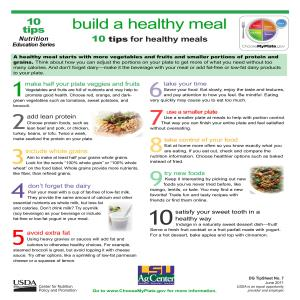 Build a healthy meal: 10 tips for healthy meals