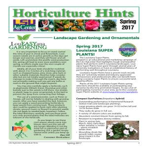 Horticulture Hints Spring 2017