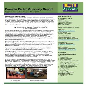 Franklin Parish Quarterly Report:  January - March 2020