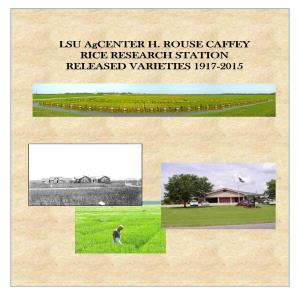 Rice Station Released Varieties 1917-2015