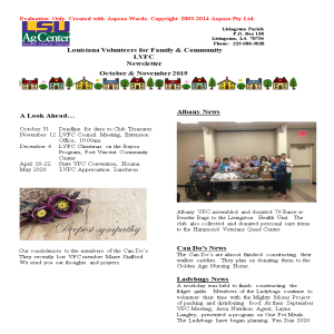LVFC Newsletter - October & November 2019