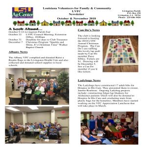 LVFC Newsletter - October & November 2018