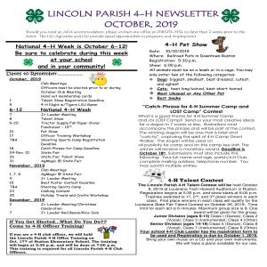 Lincoln Parish 4-H Newsletter October, 2019