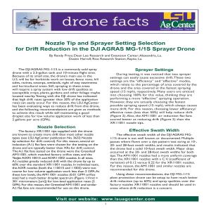 Nozzle Tip and Sprayer Setting Selection for Drift Reduction in the DJI AGRAS MG-1/1S Sprayer Drone