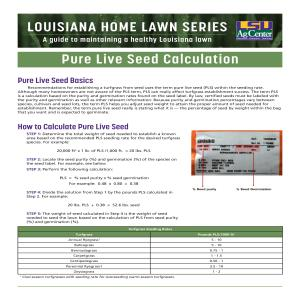 Louisiana Home Lawn Series: ​Pure Live Seed Calculation