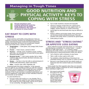 ​Good Nutrition and Physical Activity: Keys to Coping With Stress