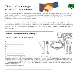 4-H Virtual Recess: Clover Challenge - All About Manners