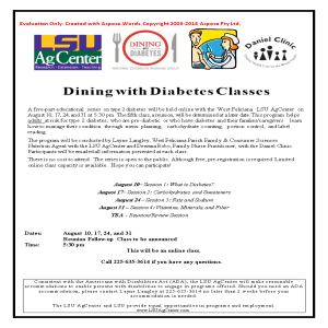 Dining With Diabetes Classes