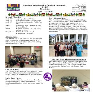 LVFC Newsletter - April - May 2019