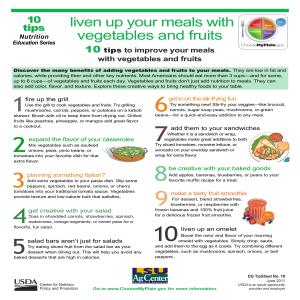 Liven up your meals with vegetables and fruits: 10 tips to improve your meals with vegetables and fruits