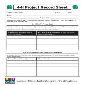 4th-12th Grade 4-H Project Record Sheet