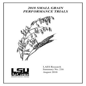 2018 Small Grain Performance Trials