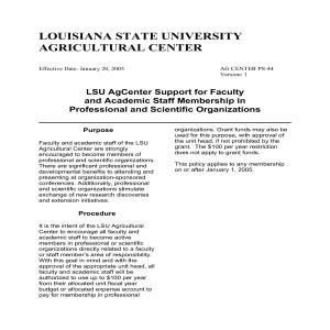 LSU AgCenter Support for Faculty and Academic Staff Membership in Professional and Scientific Organizations