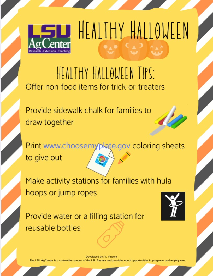 Healthy Halloween for 2019 flyer with LSU AgCenter logo.